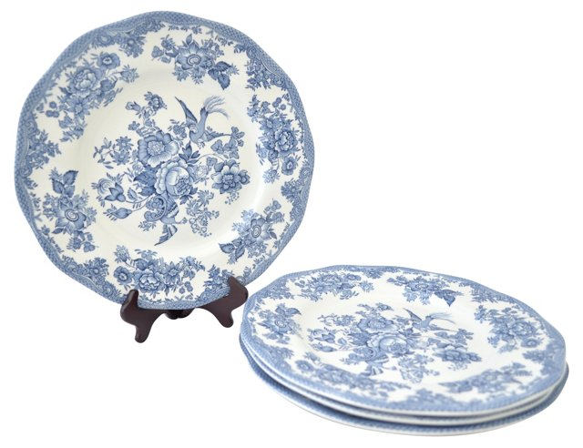 English Asiatic Dinner Plates, S/4