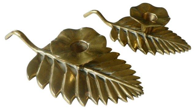 Brass Leaf Candlesticks, Pair