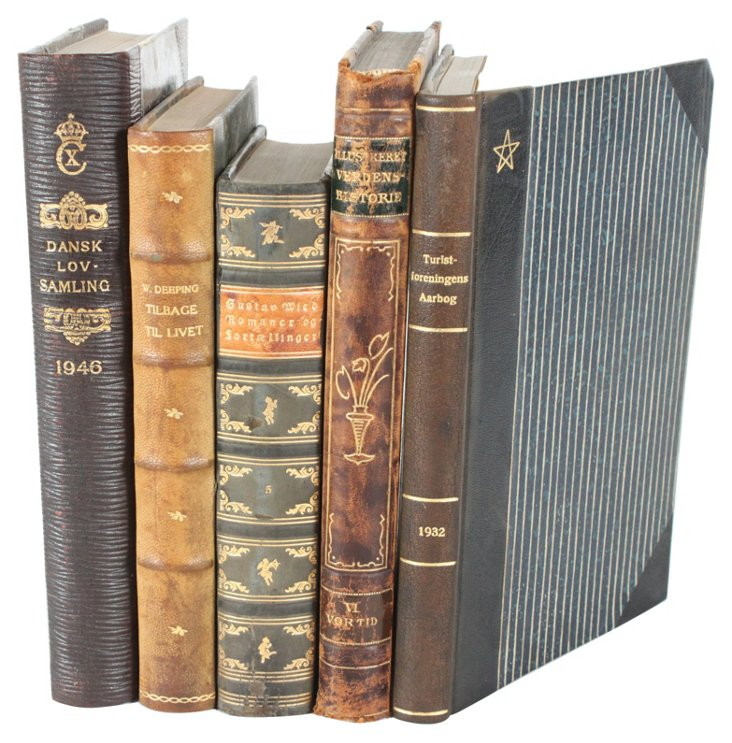 Fine Decorative Leather Books, S/5