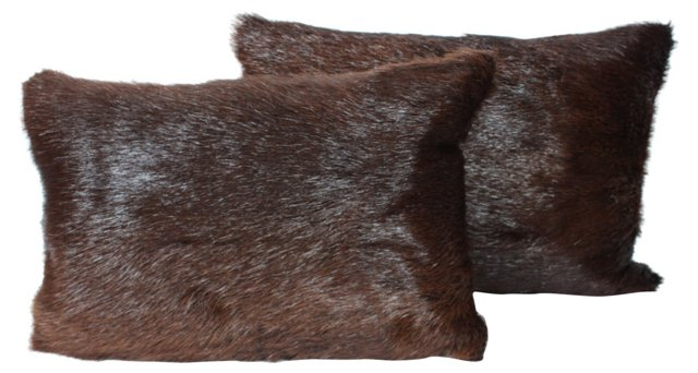 Brown Bear Fur     Pillows, Pair