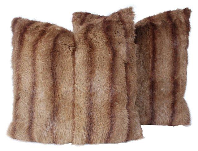 Mink Tan-Stripe Pillows, Pair