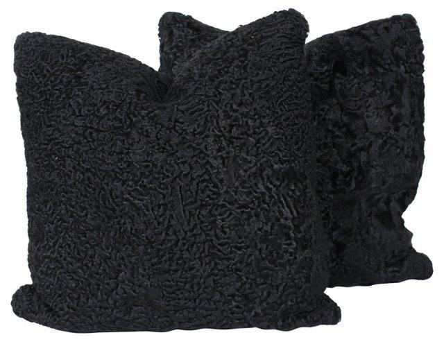 Persian Lambswool Pillows, Pair