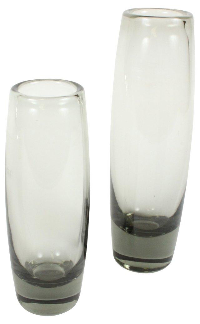 Holmegaard Smoke Glass Rondo Vases, Pair