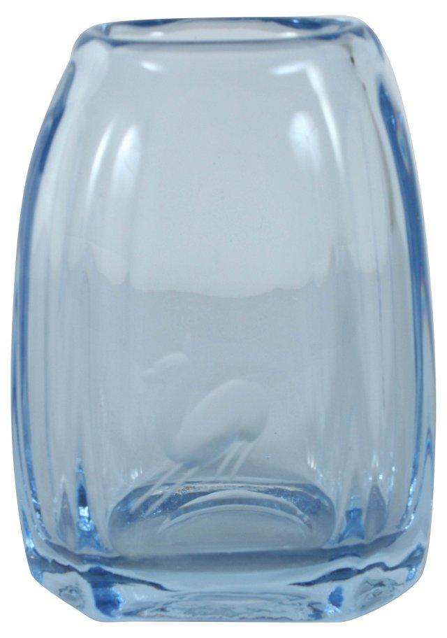 Etched Art Glass Vase