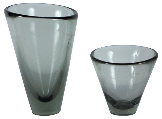 Holmegaard Asymmetrical Vases, Pair