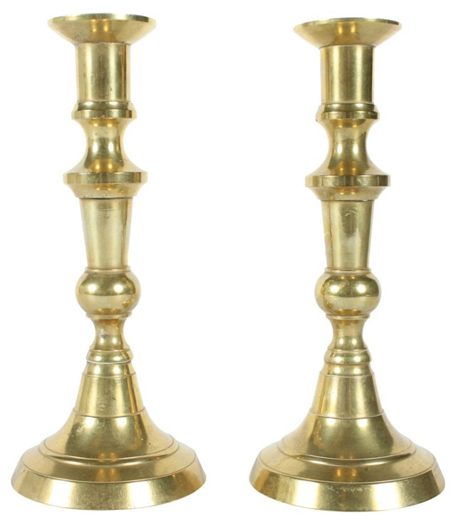 French Brass  Candlesticks, Pair