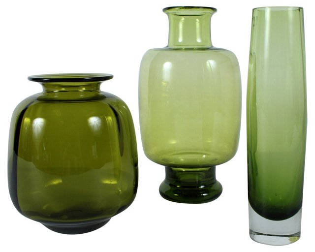 Olive Art Glass Vases, S/3