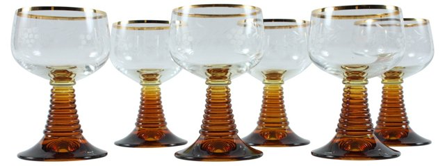 Roemer-Style Glasses, Set of 6