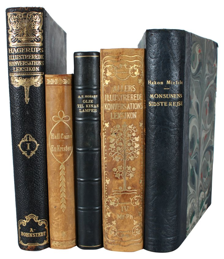 Decorative Leather-Bound    Books,   S/5