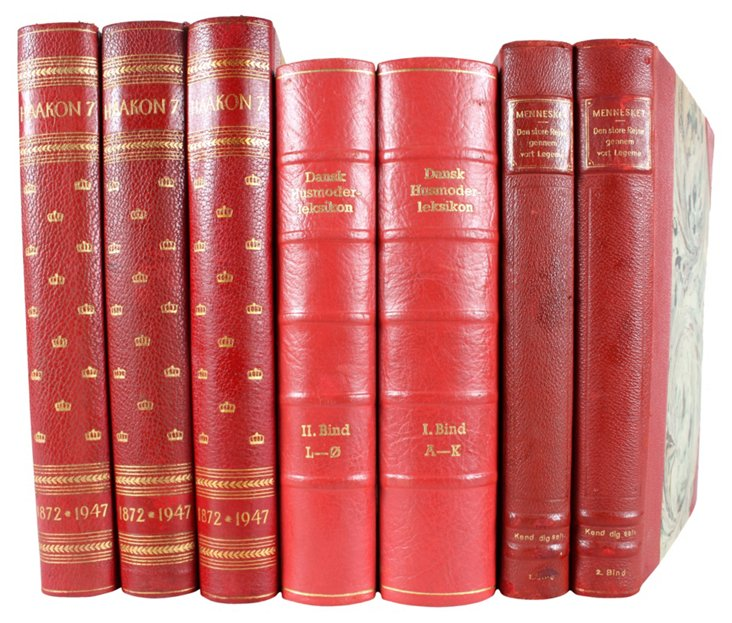 Decorative Red Leatherbound Books, S/7