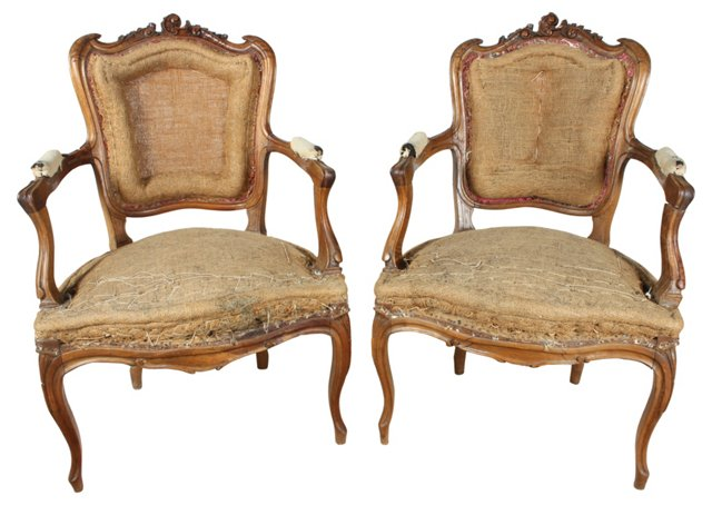 French Hand-Carved Walnut Chairs, Pair