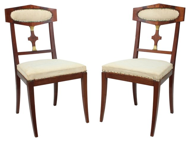 Mahogany   Library Chairs, Pair
