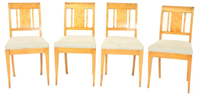 1950s Birch Dining   Chairs, S/4