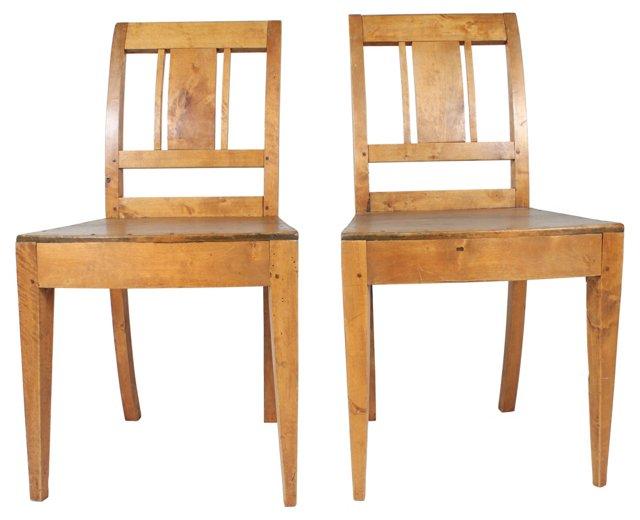 Swedish Elm Chairs, Pair