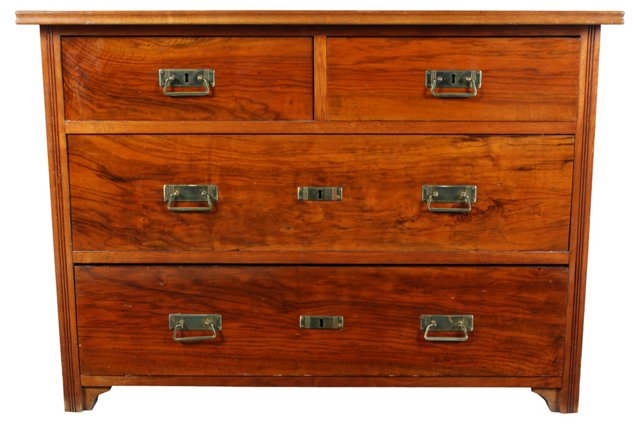 Walnut & Pine Chest of Drawers, C. 1920