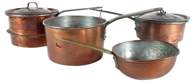 Antique Copper Pots w/ Handles, S/4