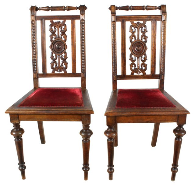 Renaissance-Style Chairs, Pair