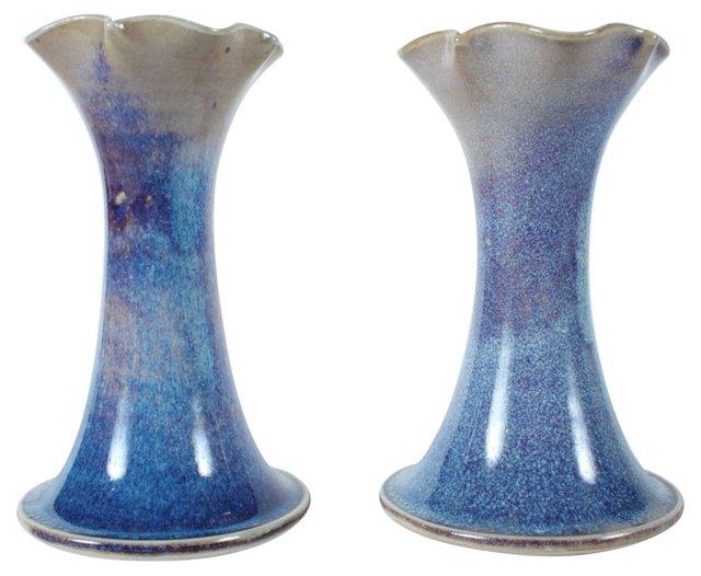 Stoneware Vases, Pair