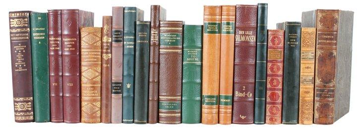 Designer     Leather  Books, Set of 20