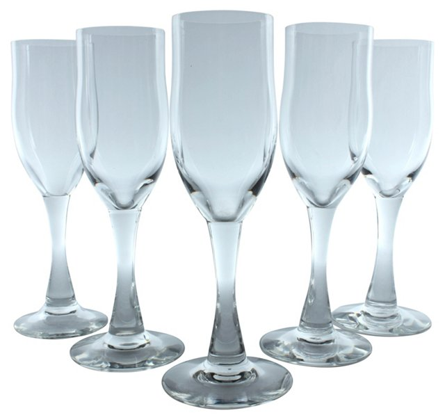 French Champagne Glasses, Set of 5