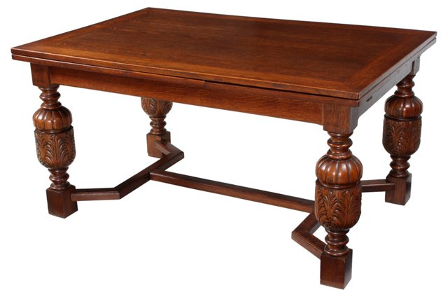 French Oak Draw-Leaf Table