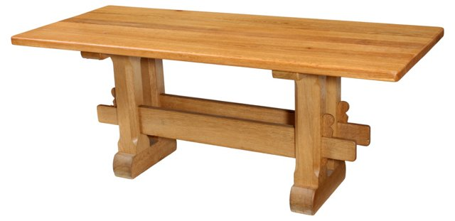 19th-C. Belgian Oak Dining Table