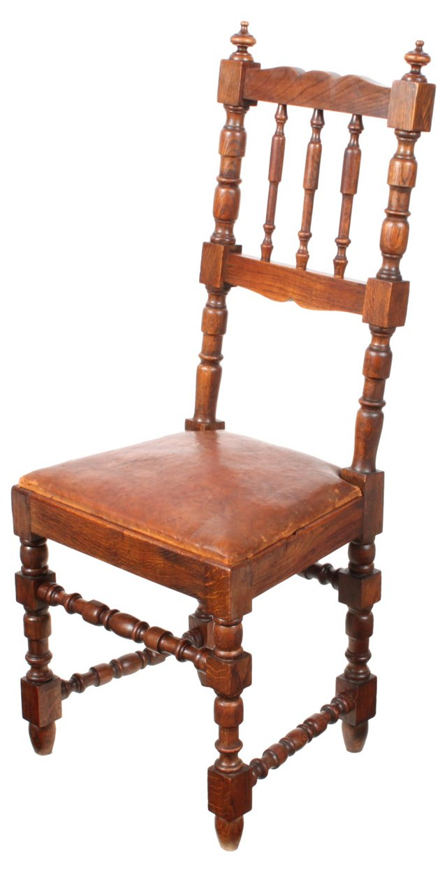 French Oak & Leather Hall Chair