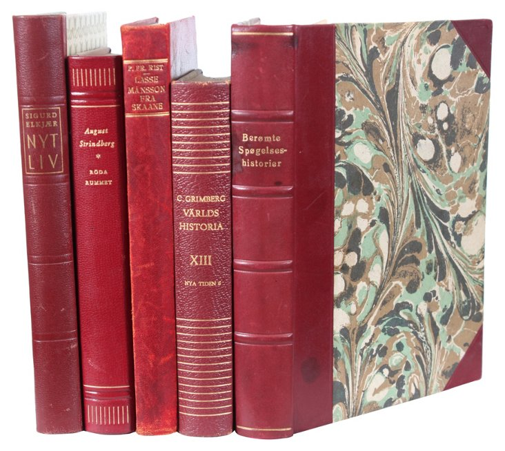 Decorative Leather Books, Burgundy, S/5