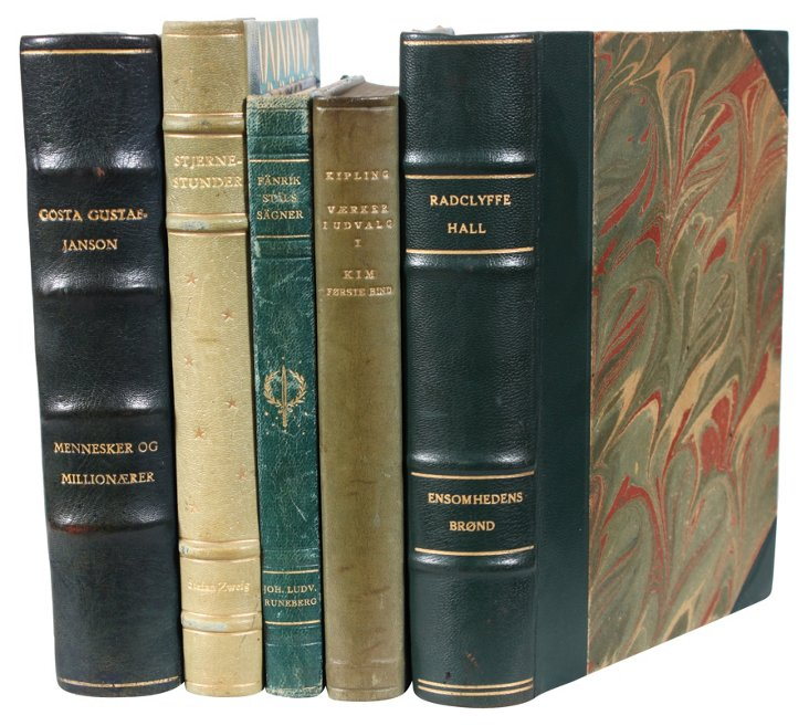 Decorative Leather Books, Green, S/5