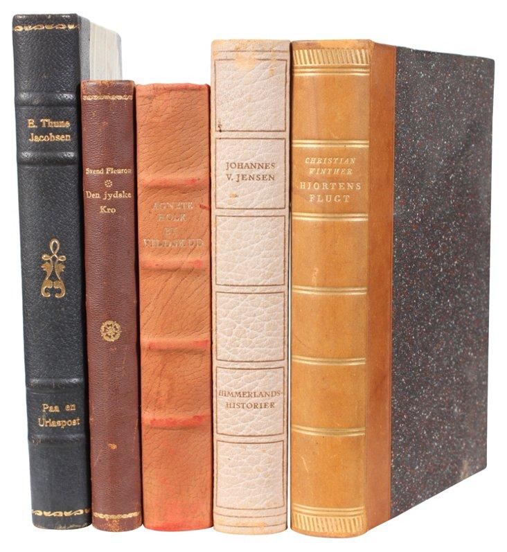 Decorative   Leather-Bound Books,  S/5