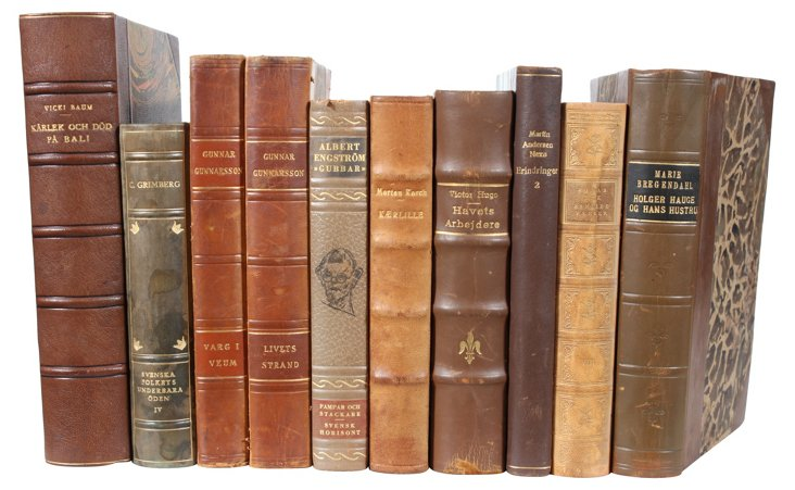 Designer Leather Books,        Set of 10