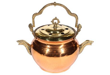 Swedish Cherub Copper & Brass Pot