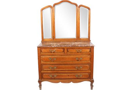 1920s French Oak Dresser w/ Mirror