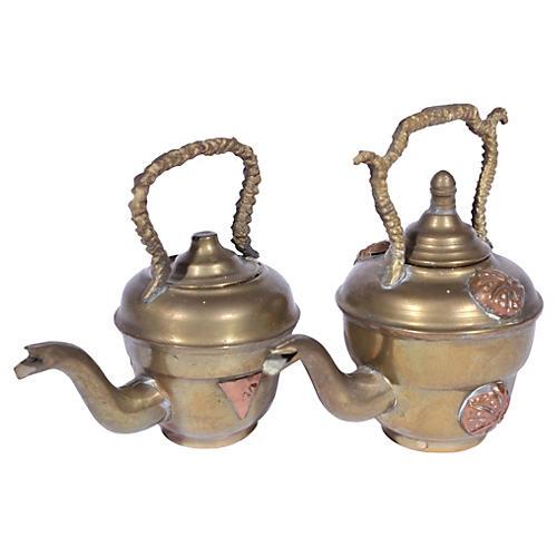Miniature Copper & Brass Teapots, Pair