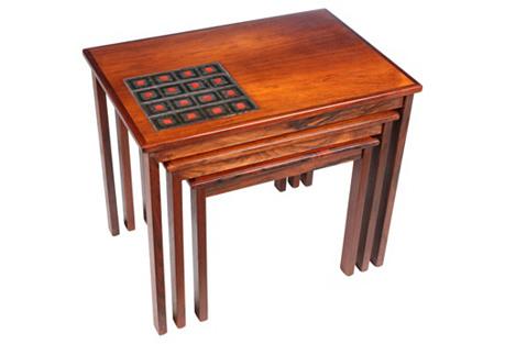 Midcentury Kvalitet Nesting Tables, S/3