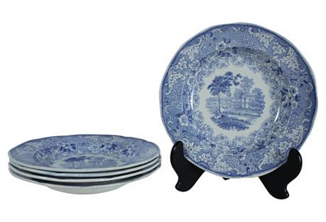 Rörstrand Blue Rim Soup Bowls, S/5