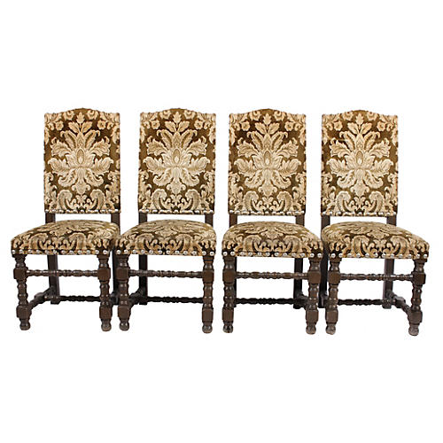 French Damask Dining Chairs, S/4