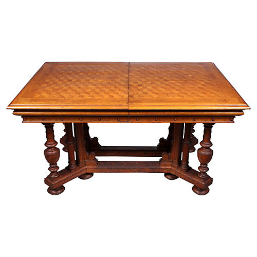 1870s French Renaissance Parquetry Table