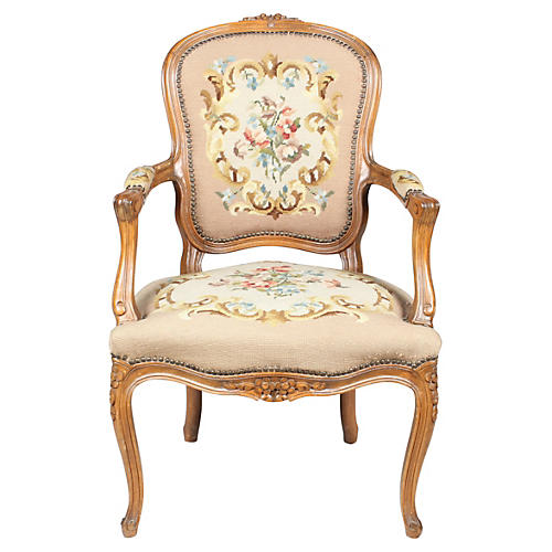 Louis XVI-Style Fauteuil Chair