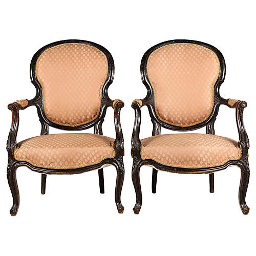 1860s French Rococo-Style Chairs, Pair