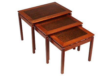 1960s Copper-Top Nesting Tables, S/3