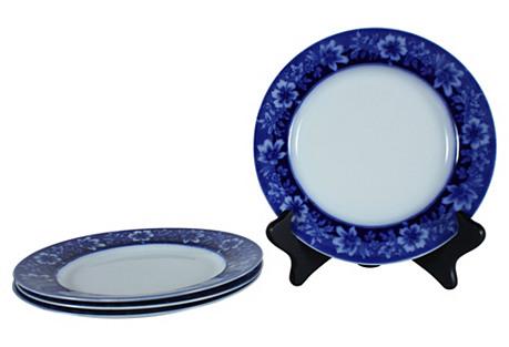 Antique English Flow Blue Plates, S/4
