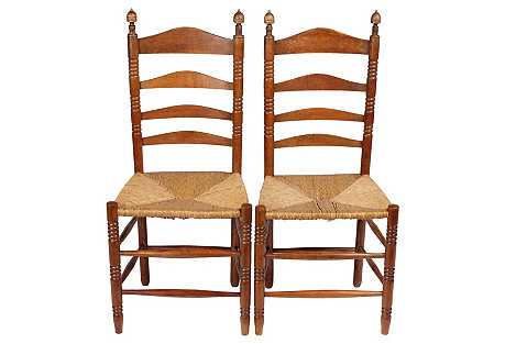 French Country Ladder Back Chairs, Pair