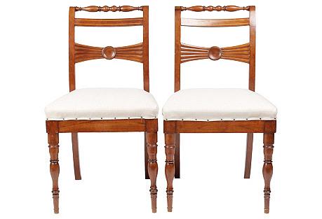 19th-C. English Regency-Sty Chairs, Pair