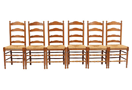 French Walnut Ladder-Back Dining Chairs