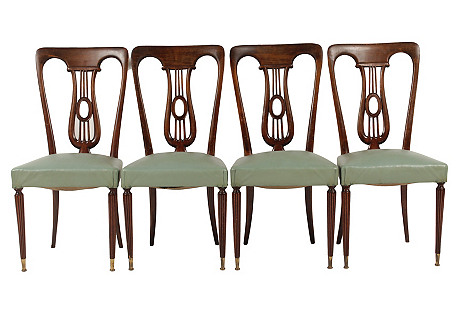 1930s French Deco Lyre Chairs, S/4