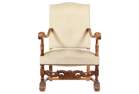 1920s English Baroque-Style Armchair