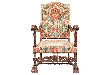 Antique Baroque-Style Armchair