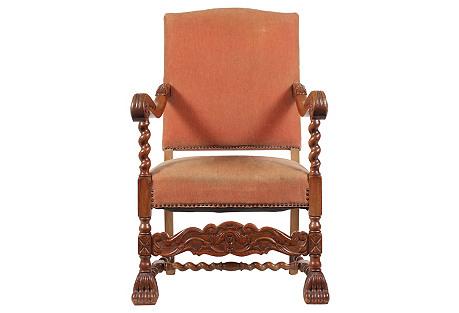 1920s English Baroque-Style Armchair
