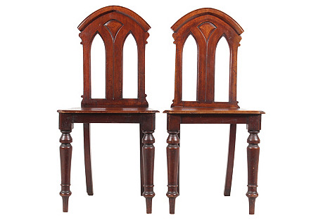 1850s Gothic Revival Abbey Chairs, Pair